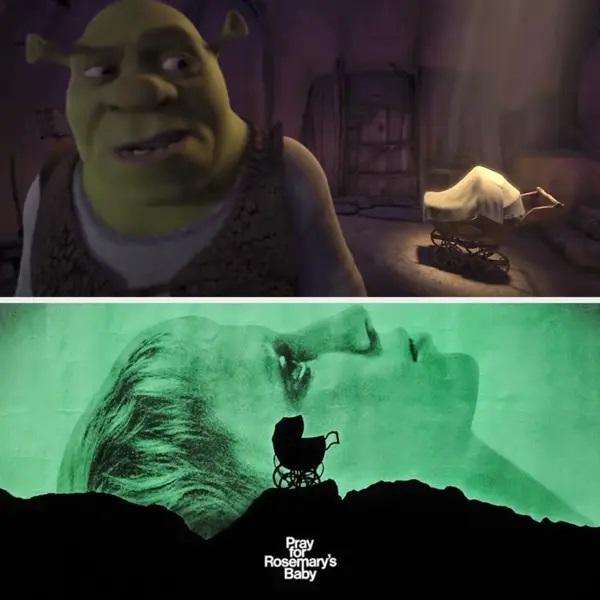 Escena de Shrek y El bebé de Rossmary ;13 Momentos que fueron magia pura en 'Shrek' y no lo notaste