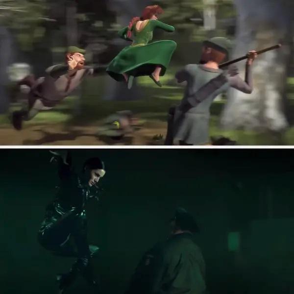 Escena de Fiona peleando ;13 Momentos que fueron magia pura en 'Shrek' y no lo notaste