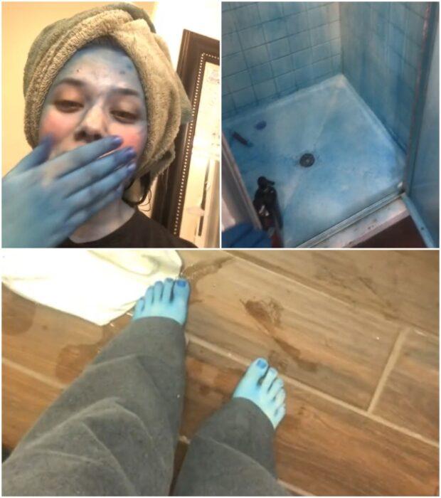 Chica teñida de azul por su tinte ;14 Fails de tintes caseros que te harán valorar tu hermosa melena