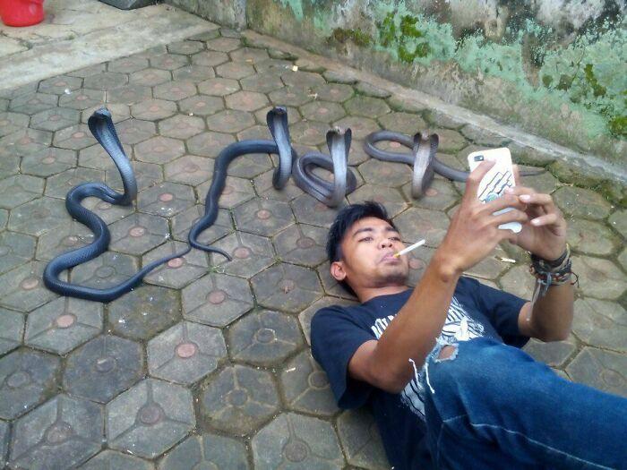 hombre junto a un grupo de serpientes ;15 Personas que mantuvieron la calma en momentos críticos