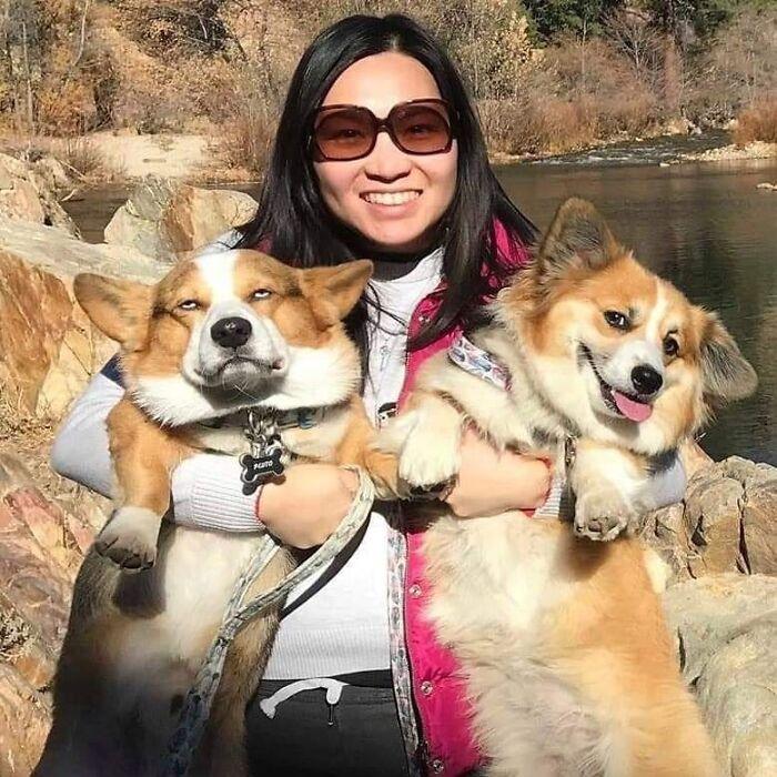 mujer sujetando a sus perros ;18 Animalitos que te alegrarán la vida con su existencia