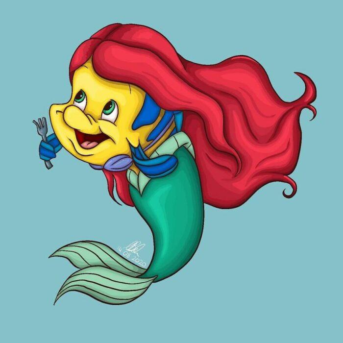 Flounder ;Artista convierte a mascotas Disney en protagonistas de cuentos de hadas