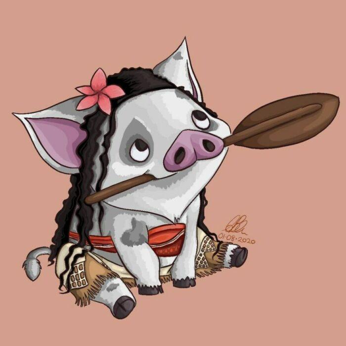 Pua ;Artista convierte a mascotas Disney en protagonistas de cuentos de hadas