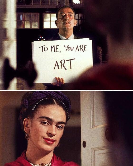 Escena de Love Actually; Pintura de Ertan Atay; Artista mezcla personajes de la cultura pop con pinturas y su trabajo es increíble