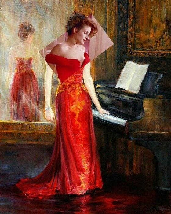 Julia Roberts; Pintura de Ertan Atay; Artista mezcla personajes de la cultura pop con pinturas y su trabajo es increíble