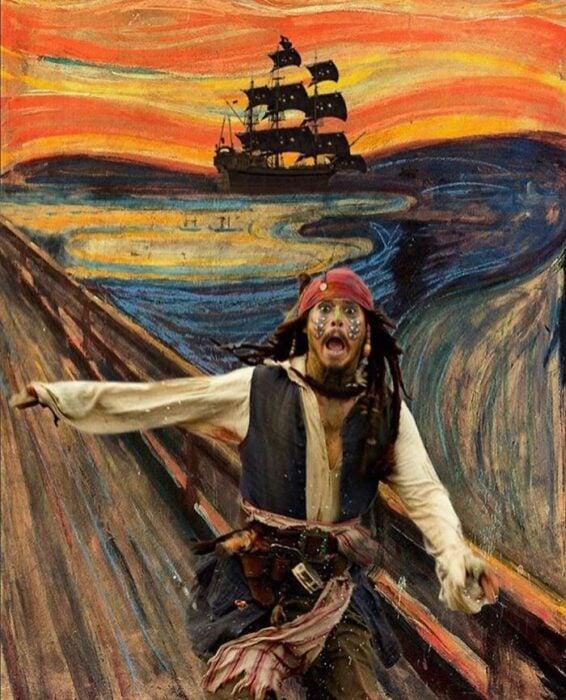 Johnny Depp; Pintura de Ertan Atay; Artista mezcla personajes de la cultura pop con pinturas y su trabajo es increíble