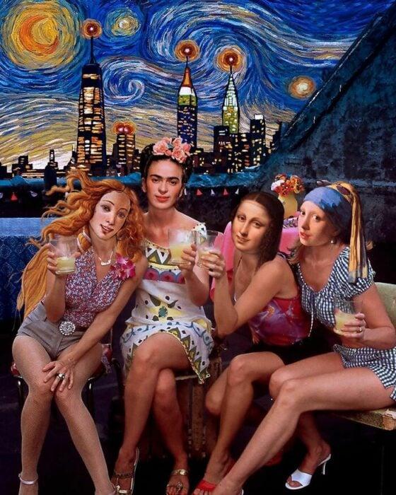 Escena de Sex and the city; Pintura de Ertan Atay; Artista mezcla personajes de la cultura pop con pinturas y su trabajo es increíble