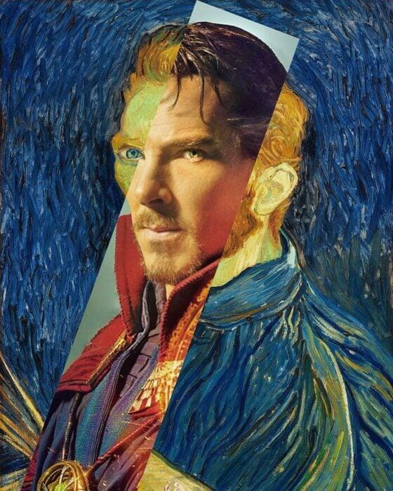 Benedict Cumberbatch; Pintura de Ertan Atay; Artista mezcla personajes de la cultura pop con pinturas y su trabajo es increíble