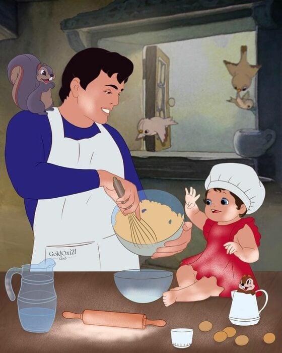 El príncipe Florian ilustración de Oksana Pashchenko ;Artista reimagina a príncipes Disney como papás y es una dosis de ternura