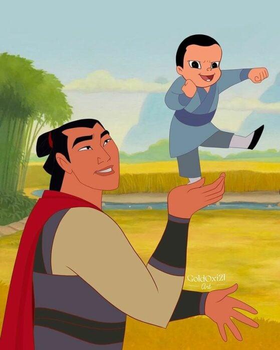 Li Shang ilustración de Oksana Pashchenko ;Artista reimagina a príncipes Disney como papás y es una dosis de ternura