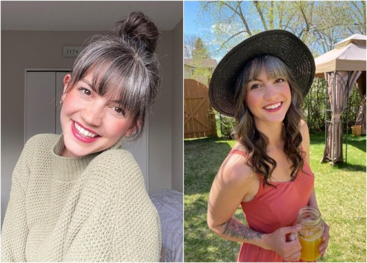 Chica con cabello lleno de canas ;Chica de 26 años decide dejar de luchar contra sus canas y su melena luce hermosa