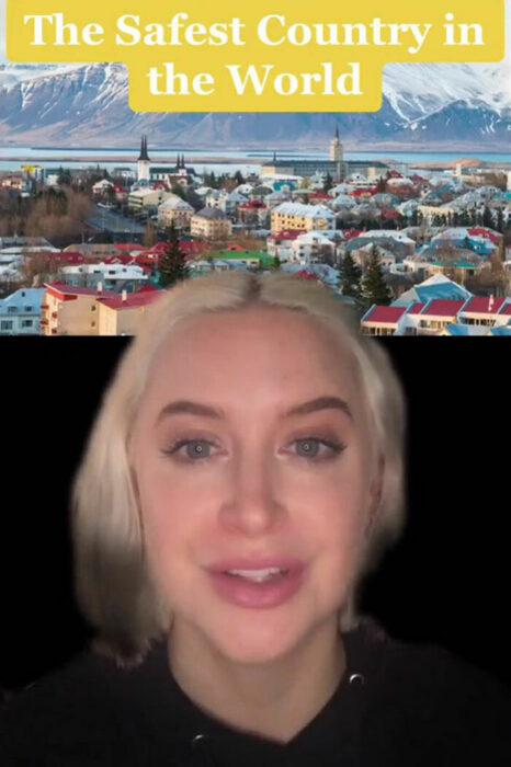 Chica contando en un video en tiktok porque Islandia es el mejor lugar del mundo