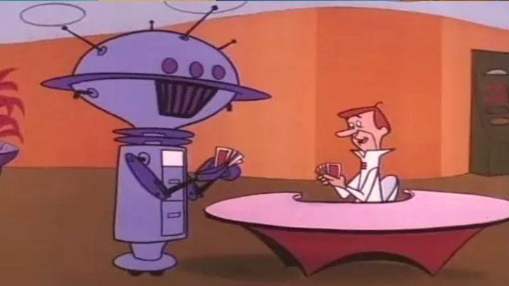 Personaje de Los Supersónicos jugado cartas con un robot