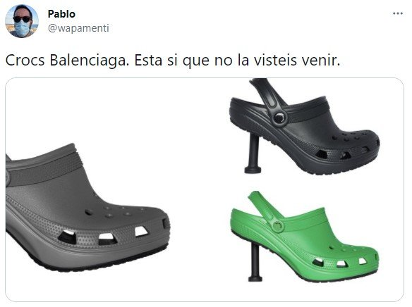 Comments on twitter about the balenciaga crocs