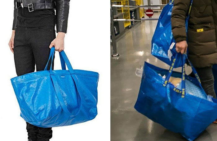 Comparación de bolsa de balenciaga vs una de Ikea