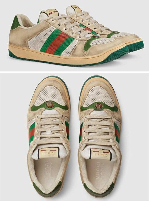 Zapatos de Gucci que son intencionalmente sucios
