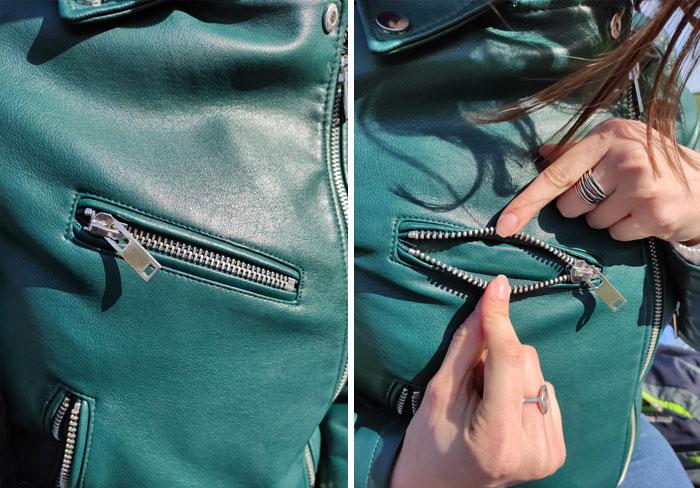 Chaqueta de una chica con bolsos falsos
