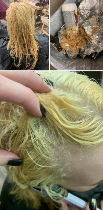 chica con cabello decolorado ;14 Fails de tintes caseros que te harán valorar tu hermosa melena