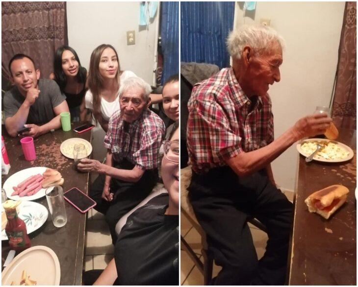Abuelito reunido junto a su familia; Familia adopta a abuelito de 108 años que vivía solo bajo un árbol