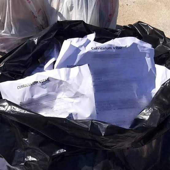 Bolsas de basura con currículos