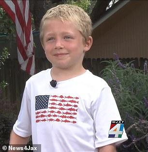 Chase Poust, niño de 7 años que salvó a su padre y hermana dando una entrevista