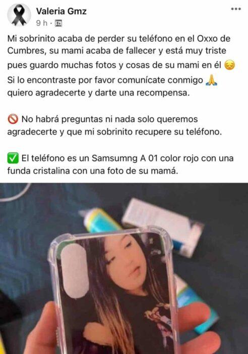 Publicación en facebook para encontrar un celular perdido