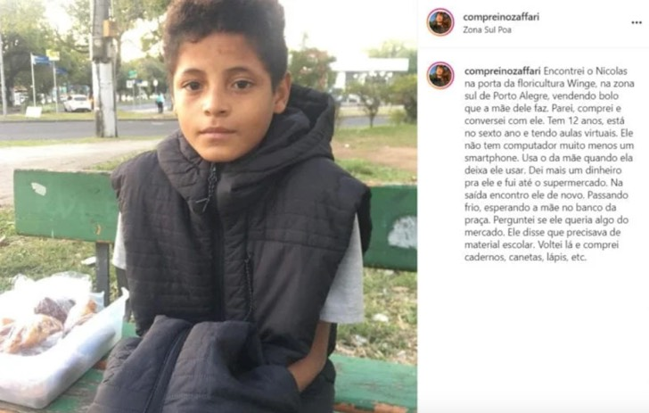 Publicación en redes sociales para ayudar a niño que dejó la escuela para trabajar