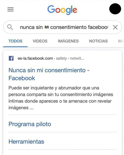 Búsqueda en google sobre el programa de facebook nunca sin mi consentimiento