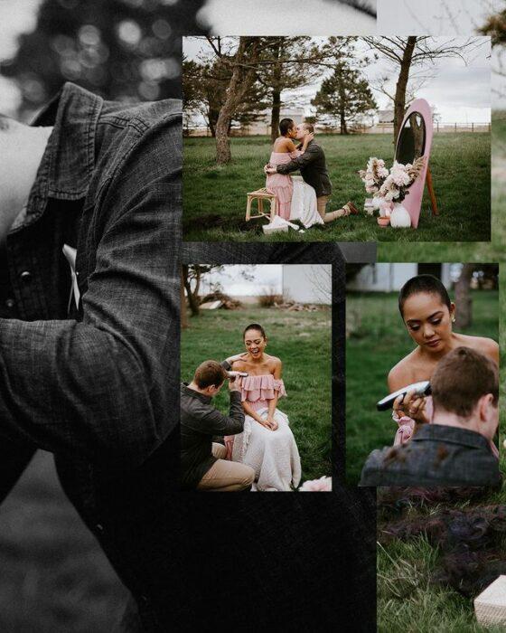 pareja afeitando sus cabezas durante una sesión de fotos