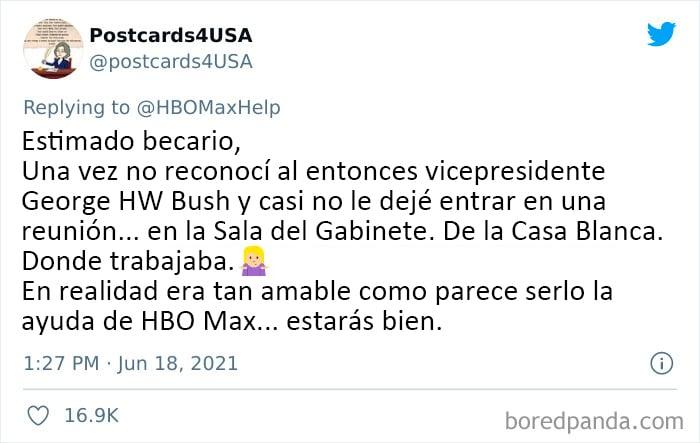 Tuit apoyando error cometido por becario de HBO