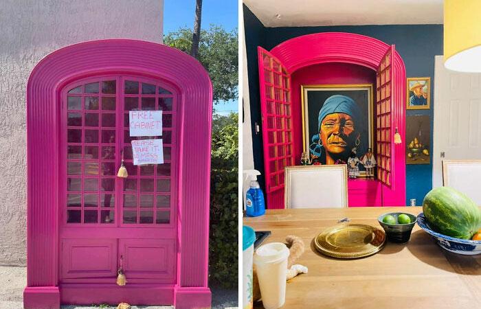 Alacena de color rosad con diferentes decoraciones