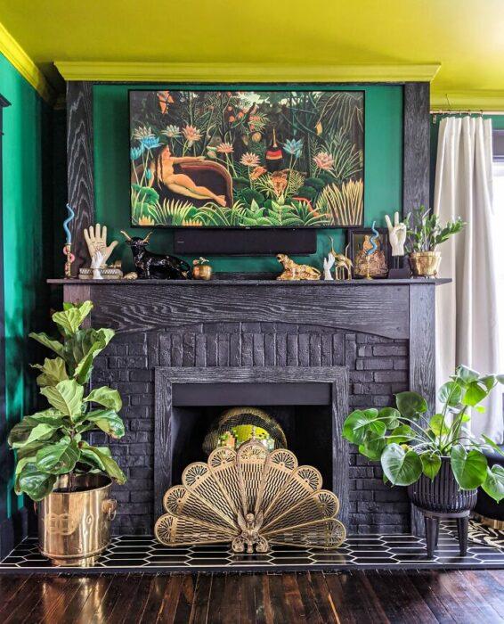 Chimenea decorada con plantas y un recuadro