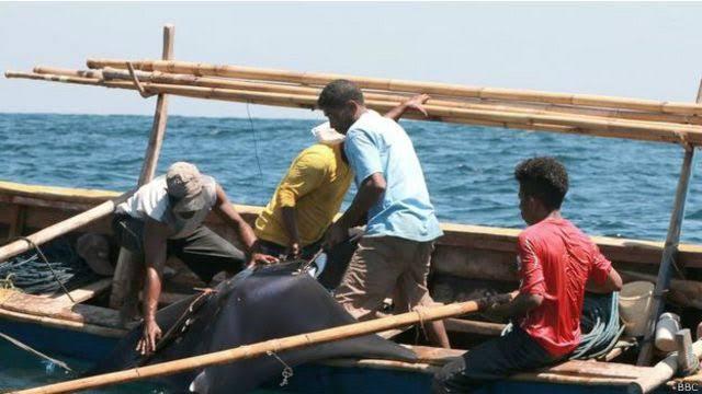 Pescadores de Yemen dentro de una balsa