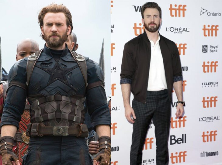 Chis Evan en su personaje de El Capitán América vs en su día a día