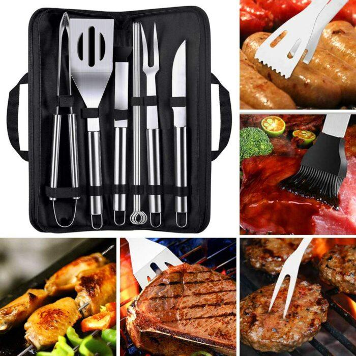 Kit parrillero para preparar carnes