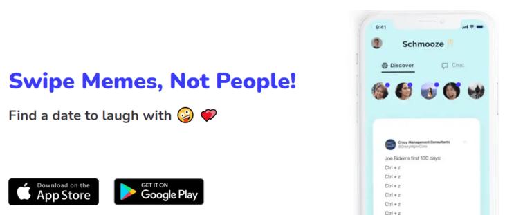 App de citas llamada Schmooze para conseguir cita con memes
