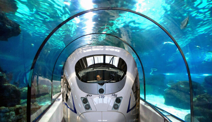 Tren submarino que viaja a través del océano