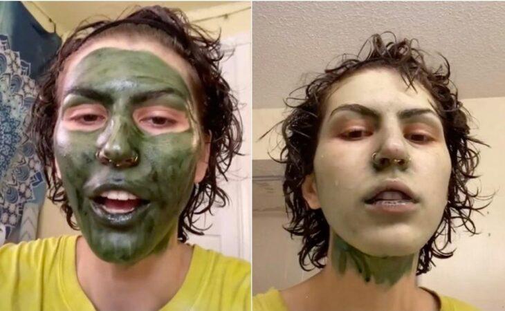 Chica con mascarilla verde; Usa mascarilla de clorofila antes de ir a su entrevista de trabajo y le queda la cara verde