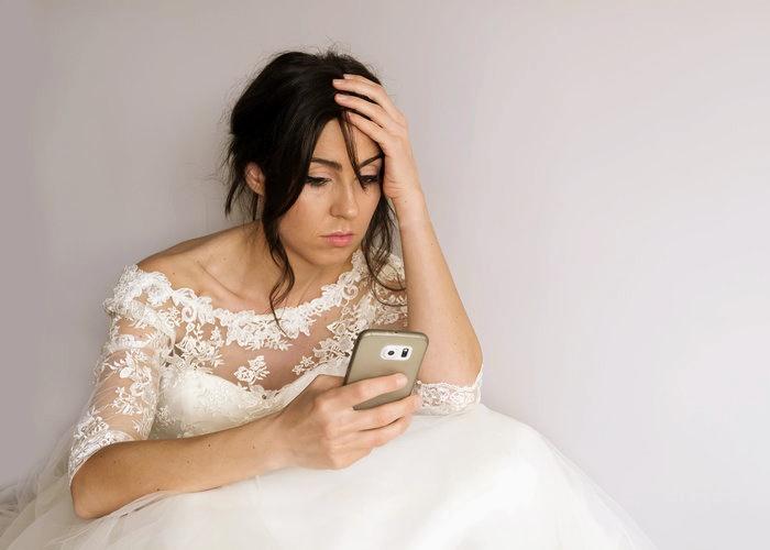 foto de novia enojada, bridezilla