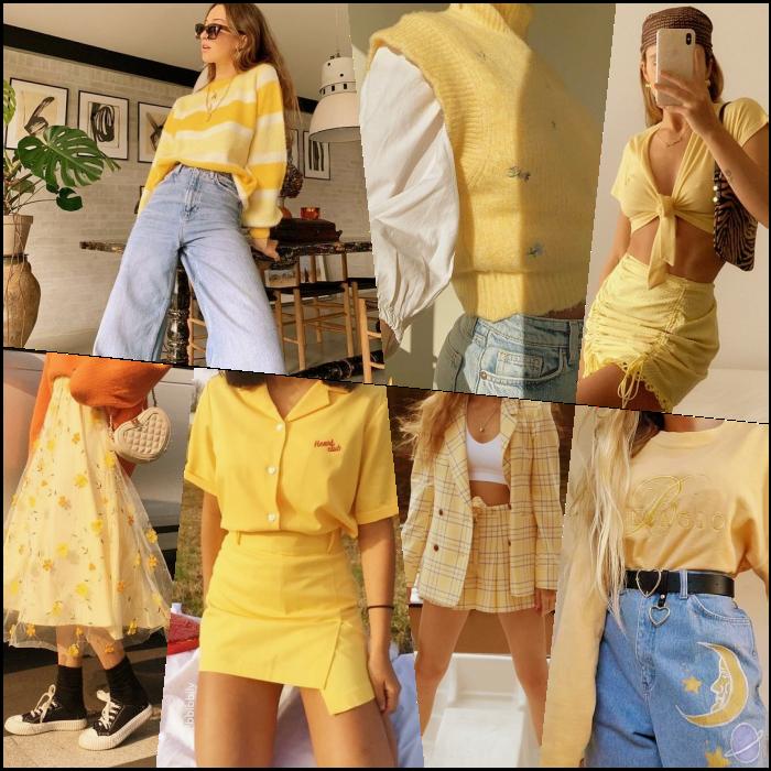 chicas de cabello largo rubio, castaño, pelirrojo con un top amarillo, minifalda, pantalones, jeans, botines, crop tops, pantalones