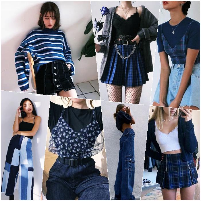 chicas de cabello largo rubio, castaño, pelirrojo con un top azul, minifalda, pantalones, jeans, botines, crop tops, pantalones