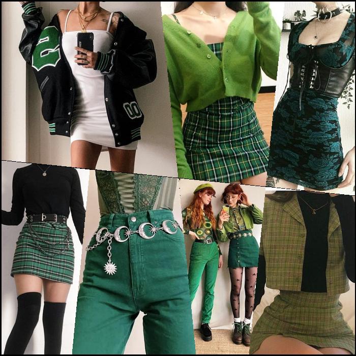 chicas de cabello largo rubio, castaño, pelirrojo con un top verde, minifalda, pantalones, jeans, botines, crop tops, pantalones