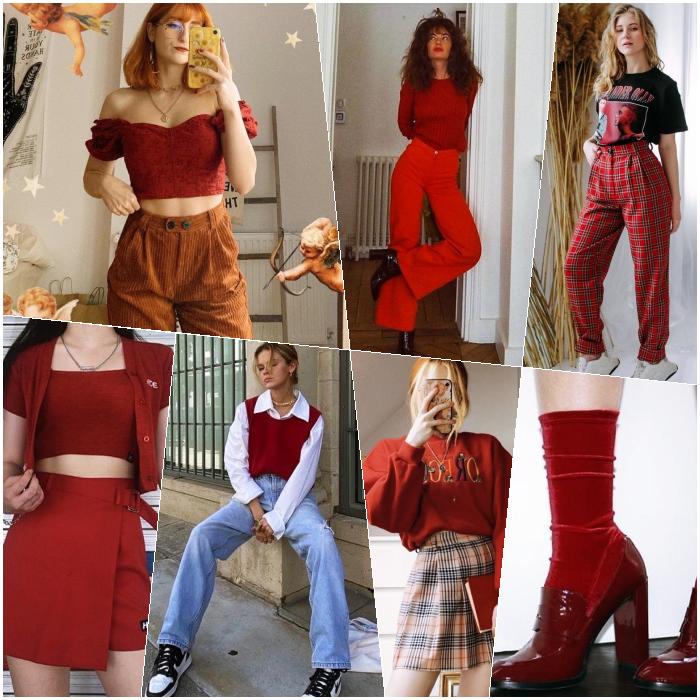 chicas de cabello largo rubio, castaño, pelirrojo con un top rojo, minifalda, pantalones, jeans, botines, crop tops, pantalones