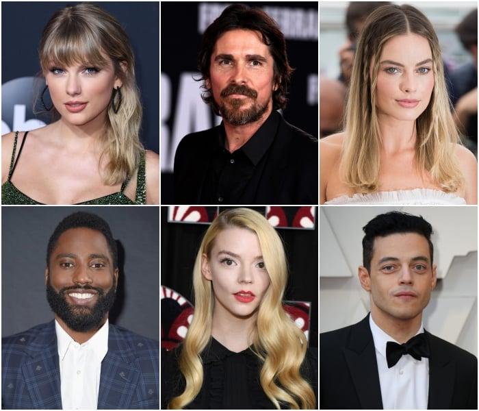Taylor Swift Christian Bale, Margot Robbie, John David Wasington, Anya Taylor-Joy y Rami Malek