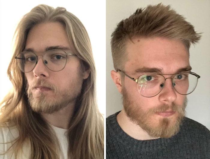 Chico con lentes ;14 Hombres antes y después de cortar su melena