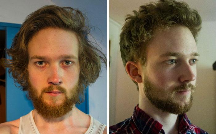 Chico desalineado; 14 Hombres antes y después de cortar su melena