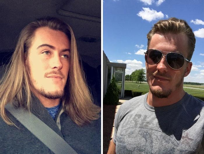 Chico dentro y fuera de un carro; 14 Hombres antes y después de cortar su melena