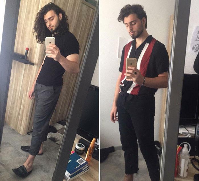 chico tomando una selfie; 14 Hombres antes y después de cortar su melena