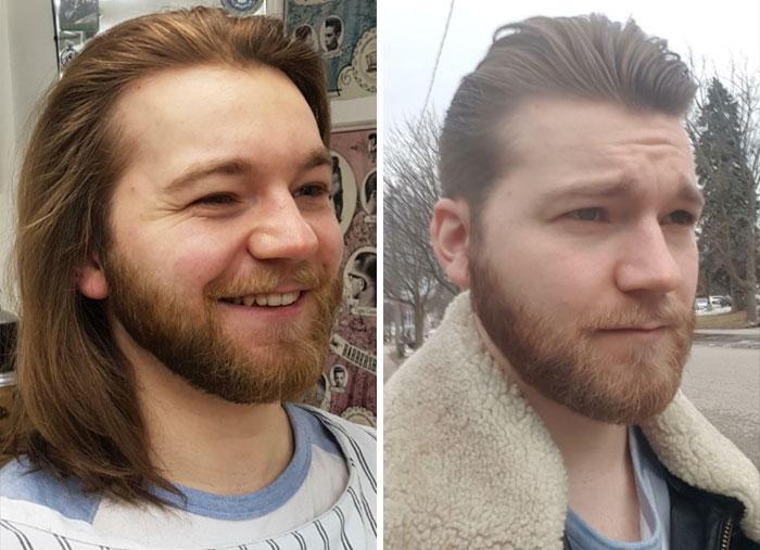 Chico antes y después de sonreír; 14 Hombres antes y después de cortar su melena