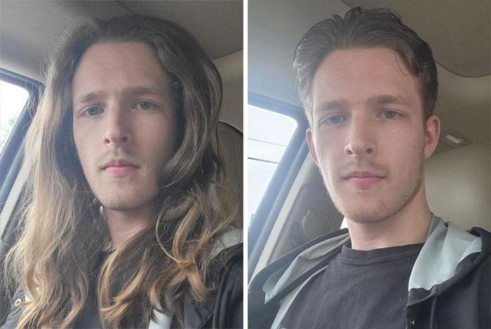 chico tomando una foto dentro de un auto; 14 Hombres antes y después de cortar su melena